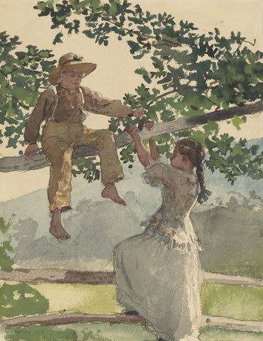 On the Fence, 1878 -  Winslow Homer - McGaw Graphics