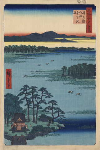 Bird's-eye View of Inokashira Pond with Bridge Leading to Small Island and the Benten Shrine -  Ando Hiroshige - McGaw Graphics