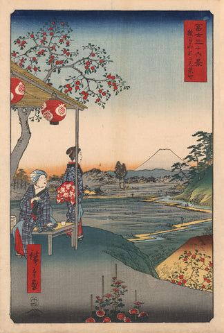 Two Women at an Outdoor Teahouse Stall at Zoshigaya with Mount Fuji
