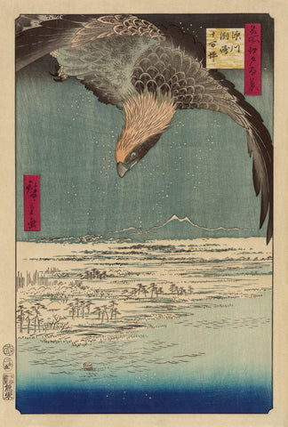Hawk Flying above a Snowy Landscape -  Ando Hiroshige - McGaw Graphics