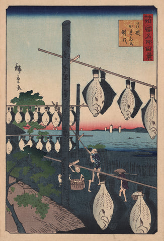 Fishermen Drying Flatfish on Racks -  Utagawa Hiroshige I - McGaw Graphics