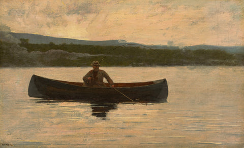 Playing a Fish, 1875, reworked in the 1890's -  Winslow Homer - McGaw Graphics