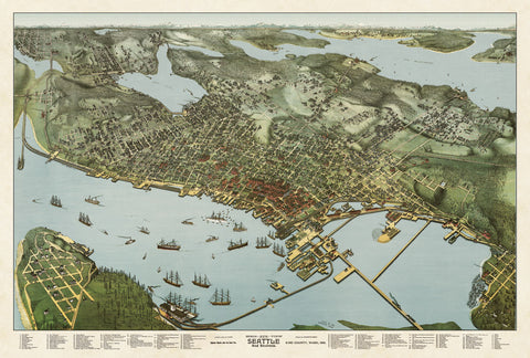 A. Koch - Map of Seattle, Washington, 1891
