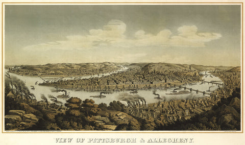 View of Pittsburgh & Allegheny, 1874 -  Krebs - McGaw Graphics