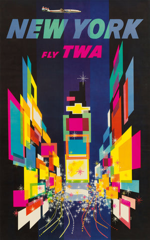 New York Fly TWA, 1956 -  David Klein - McGaw Graphics
