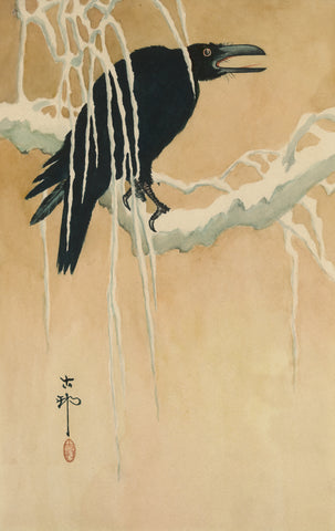 Blackbird Perched on a Snow-Covered Branch -  Ikeda Koson - McGaw Graphics