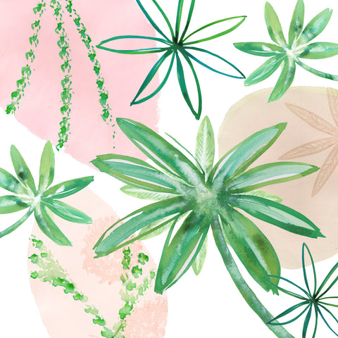 Lime Leaves on Pink II