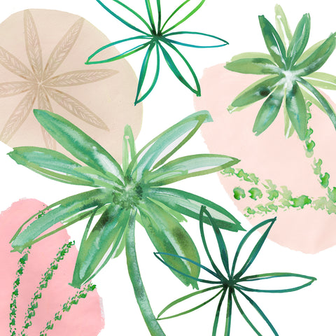 Lime Leaves on Pink III -  Flora Kouta - McGaw Graphics