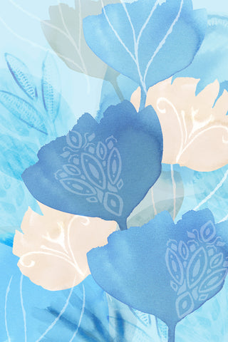 Blue Batik Flowers II