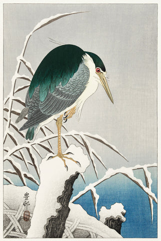 Heron in Snow -  Ohara Koson - McGaw Graphics