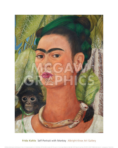 Self-Portrait with Monkey, 1938 -  Frida Kahlo - McGaw Graphics