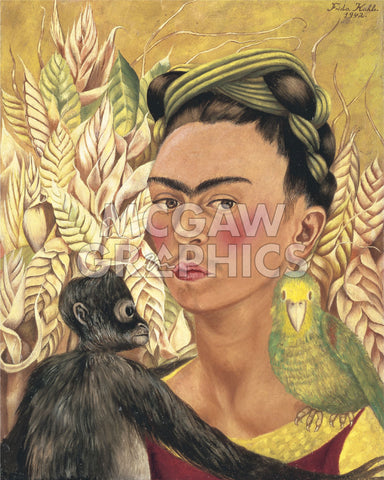 Frida Kahlo - Self-Portrait with Monkey and Parrot, 1942