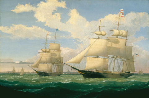 "The Ships ""Winged Arrow"" and ""Southern Cross"" in Boston Harbor, 1853 -  Fitz Hugh Lane - McGaw Graphics"