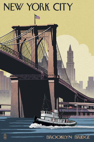 New York City - Brooklyn Bridge -  Lantern Press - McGaw Graphics