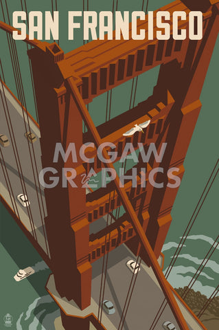 San Francisco - Golden Gate Bridge -  Lantern Press - McGaw Graphics