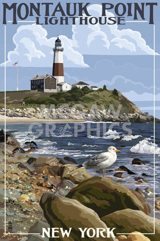 Montauk Point Lighthouse -  Lantern Press - McGaw Graphics