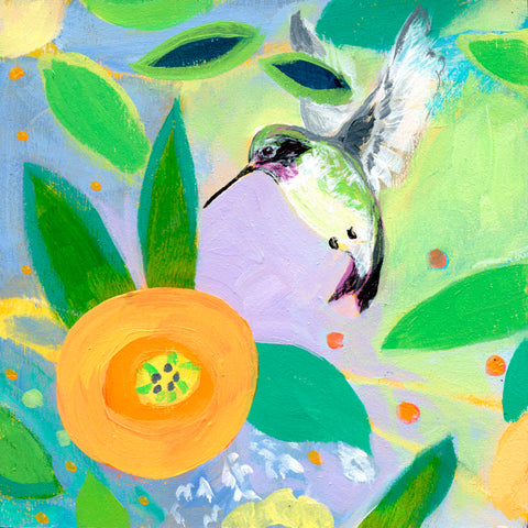 Hummingbird and Dahlia -  Jennifer Lommers - McGaw Graphics
