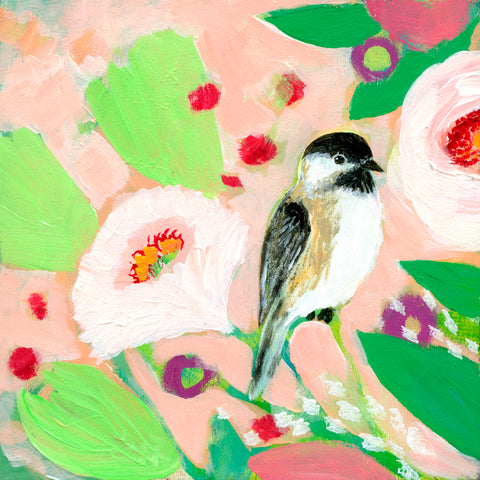 Chickadee and Roses -  Jennifer Lommers - McGaw Graphics