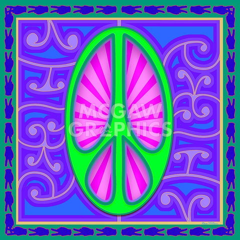 Peace sign (green) -  Kem McNair - McGaw Graphics