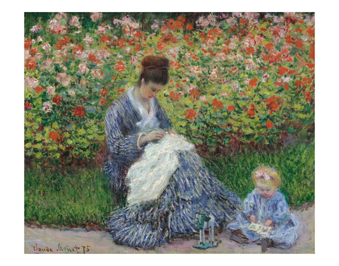 Camille Monet and a Child in the Artist's Garden in Argenteuil, 1875