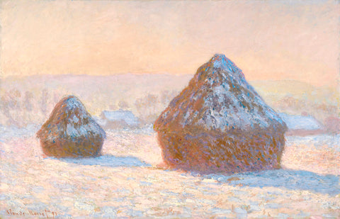 Wheatstacks, Snow Effect, Morning, 1891 -  Claude Monet - McGaw Graphics