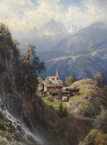 Village in the Bernese Alps, by 1885 -  Adolf Mosengel - McGaw Graphics