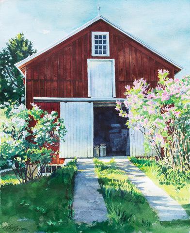 Barn with Lilacs