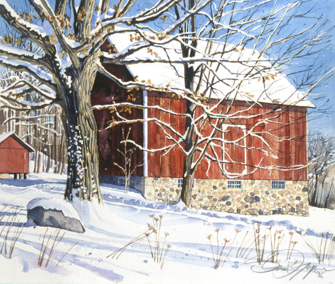 Red Barn in Winter -  Stan Myers - McGaw Graphics