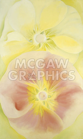 Pink and Yellow Hollyhocks, 1952 -  Georgia O'Keeffe - McGaw Graphics