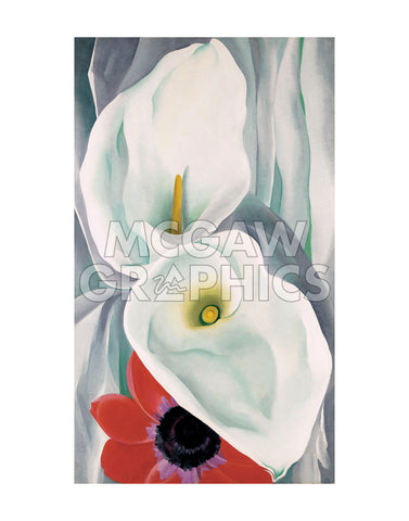 Calla Lilies with Red Anemone, 1928 -  Georgia O'Keeffe - McGaw Graphics