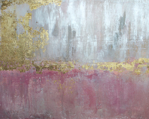 Gold Leaf Pink Silver Abstract 2