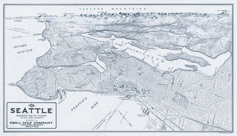 Bird's Eye View of Seattle, Washington, 1925 -  Edward C. Poland - McGaw Graphics