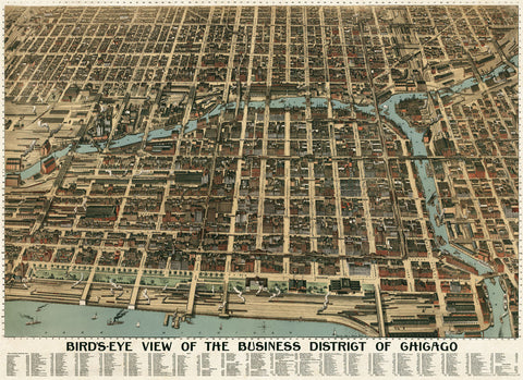Poole Bros. - Bird's Eye View of the Business District of Chicago, 1898
