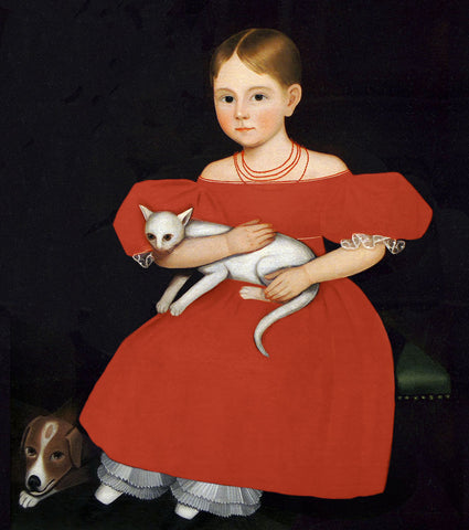 Girl in Red Dress with Cat and Dog, 1830-1835 -  Ammi Phillips - McGaw Graphics