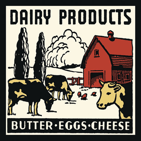 Dairy Products-Butter, Eggs, Cheese -  Retro Series - McGaw Graphics