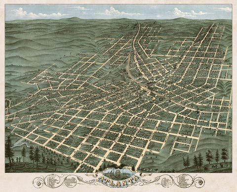 Bird's Eye View of the City of Atlanta, Georgia, 1871 -  A. Ruger - McGaw Graphics