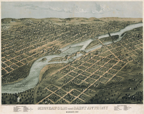 Minneapolis and Saint Anthony, Minnesota, 1867 -  A. Ruger - McGaw Graphics