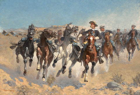 Dismounted: The Fouth Troopers Moving the Led Horses, 1890 -  Frederic Remington - McGaw Graphics