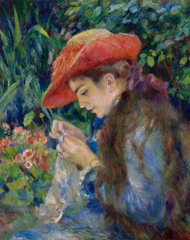 Marie-Therese Durand-Ruel Sewing, 1882 -  Pierre-Auguste Renoir - McGaw Graphics