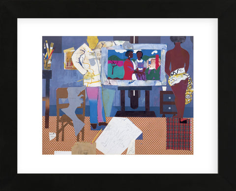 Profile/Part II, The Thirties: Artist with Painting and Model, 1981  (Framed) -  Romare Bearden - McGaw Graphics