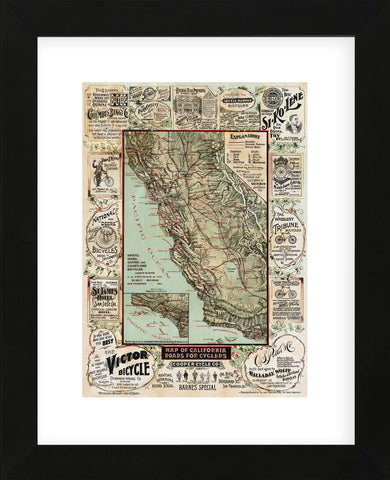 Map of California Roads for Cyclers, 1896 (Framed) -  George W. Blum - McGaw Graphics