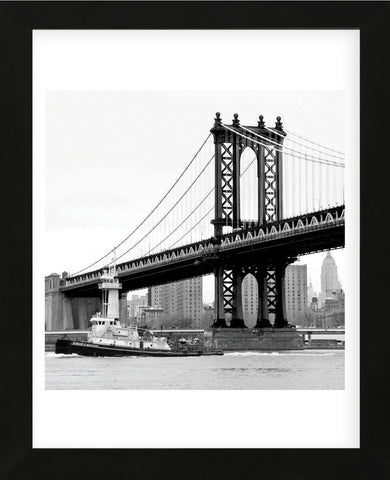 Manhattan Bridge with Tug Boat (b/w)  (Framed) -  Erin Clark - McGaw Graphics