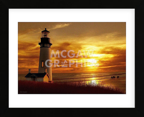 Lighthouse at Sunset (Framed) -  Carlos Casamayor - McGaw Graphics