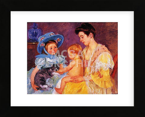 Children Playing with a Cat (Framed) -  Mary Cassatt - McGaw Graphics