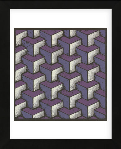 Three Part Tumbling Blocks - Plum (Framed) -  Susan Clickner - McGaw Graphics