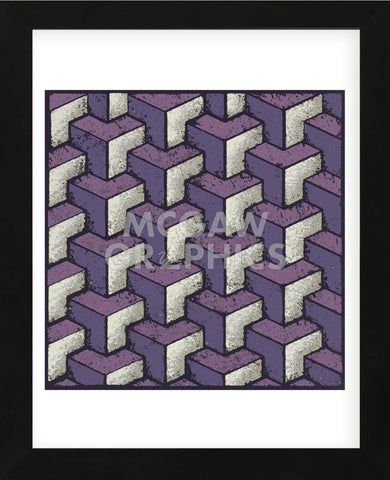 Three Part Tumbling Blocks (Purple) (Framed) -  Susan Clickner - McGaw Graphics