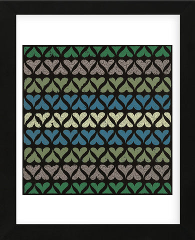 Row of Hearts (Teal) (Framed) -  Susan Clickner - McGaw Graphics