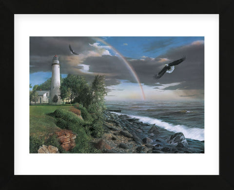 Eagles with Lighthouse (Framed) -  Kevin Daniel - McGaw Graphics