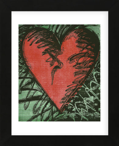 Rancho Woodcut Heart (Framed) -  Jim Dine - McGaw Graphics