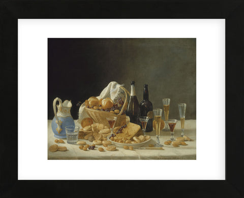 Still Life with Wine Bottles and Basket of Fruit, 1857 (Framed) -  John F. Francis - McGaw Graphics